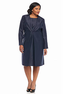 Kasper Plus Size Long Jacket Dress Suit