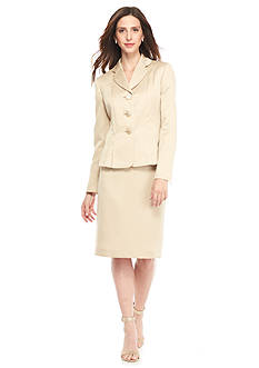 Kasper Three Button Decorative Skirt Suit
