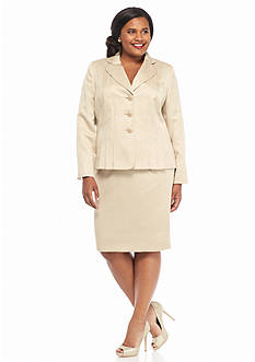 Kasper Plus Size Three Button Jacquard Skirt Suit