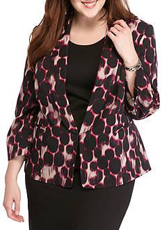 Kasper Plus Size Leopard Print Shantung Jacket