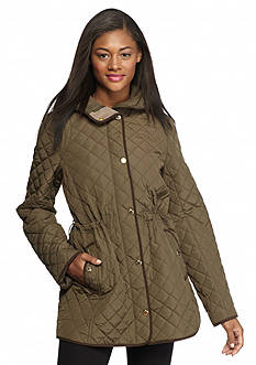 Gallery Quilted Patterned Anorak Zip and Snap Front Jacket