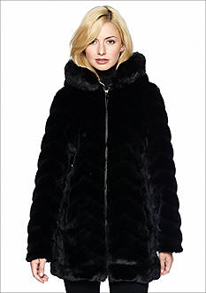 Gallery Faux Fur Chevron Zip Jacket with Hood
