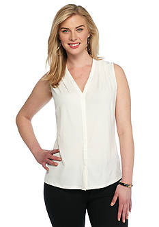 John Meyer Split Neck Sleeveless Top