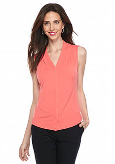 John Meyer Sleeveless Split Neck Top