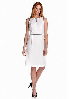 John Meyer White and Black Piped Dress