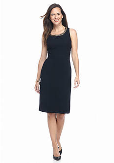 John Meyer Crepe Dress with Chain