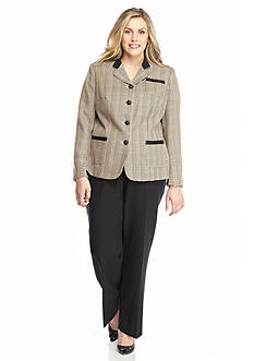 John Meyer Plus Size Solid and Plaid Pant Suit