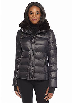 S13/NYC Mercer Channel Quilted Puffer Coat with Faux Fur Collar