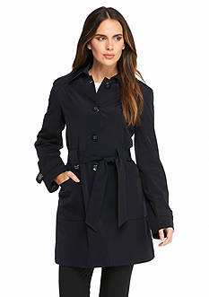 Gallery Tie Waist Trench with Dot Lining