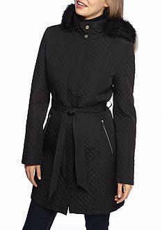 IVANKA TRUMP Mixed Quilt Pattern Faux Fur Hooded Coat