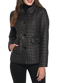 kate spade new york Quilted Button Peplum Coat