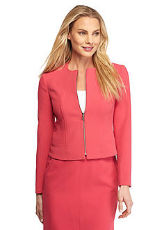 Anne Klein Solid Zip Front Jacket