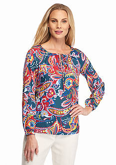 Anne Klein Paisley Print Long Sleeve Blouse