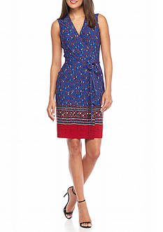Anne Klein Print Jersey Knit Wrap Dress