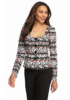Anne Klein Print Button Jacket