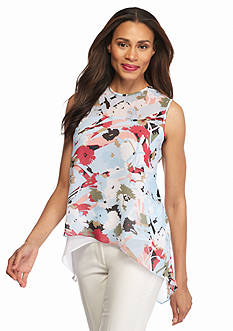 Anne Klein Print Layered Woven Top
