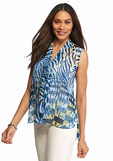 Anne Klein Sleeveless Print High Low Blouse