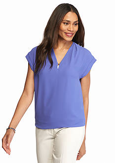 Anne Klein Solid V Neck Woven Blouse