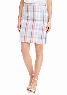Anne Klein Plaid Seersucker Skirt