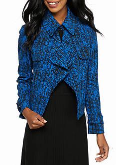 Anne Klein Ruffle Front Print Jacket
