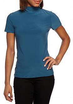 Anne Klein Solid Short Sleeve Mockneck Top