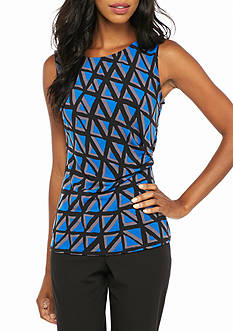 Anne Klein Print Gathered Side Top