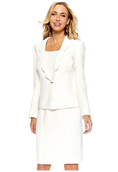 Tahari ASL Ruffle Collar Dress Suit