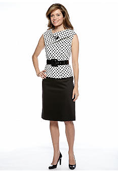 Tahari ASL Dot Print Skirt Suit