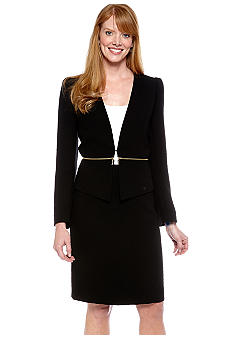 Tahari ASL Double Zipper Skirt Suit