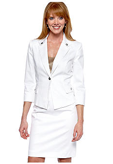 Tahari ASL White Poplin Skirt Suit