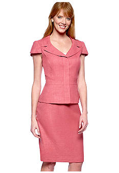 Tahari ASL Vintage Rose Short Sleeve Skirt Suit
