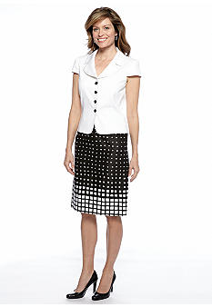 Tahari ASL Graphic Print Skirt Suit