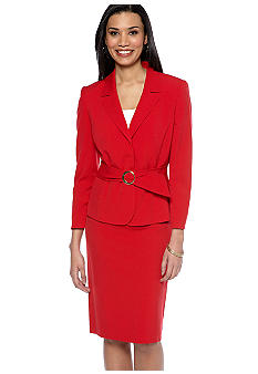 Tahari ASL Belted Red Skirt Suit