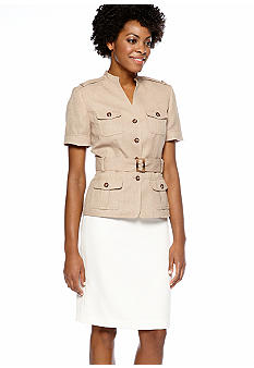 Tahari ASL Belted Safari Skirt Suit