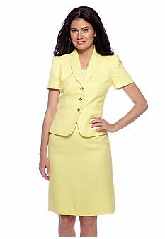 Tahari ASL Lemon Skirt Suit
