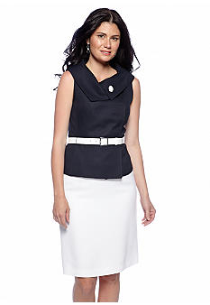 Tahari ASL Two-Tone Asymmetrical Collar Skirt Suit