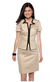 Tahari ASL Poplin Short Sleeve Star Neck Skirt Suit