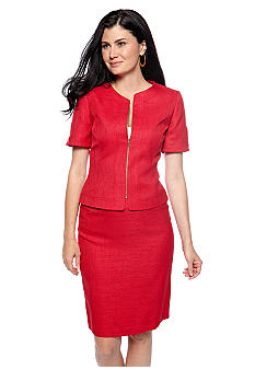 Tahari ASL Textured Short Sleeve Zip Front Skirt Suit