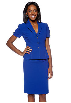 Tahari ASL Crepe Short Sleeve Peplum Skirt Suit