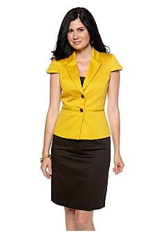 Tahari ASL Poplin Tulip Short Sleeve Skirt Suit