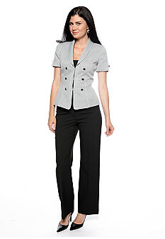 Tahari ASL Tweed Short Sleeve Button Detailed Pant Suit
