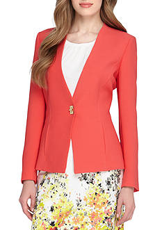 Tahari ASL Solid V Neck Jacket