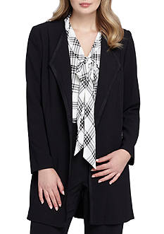Tahari ASL Long Solid Open Front Jacket