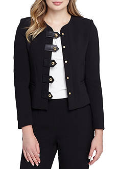 Tahari ASL Solid Jacket With Button Front Detail