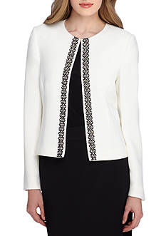 Tahari ASL Solid Lace Trim Jacket