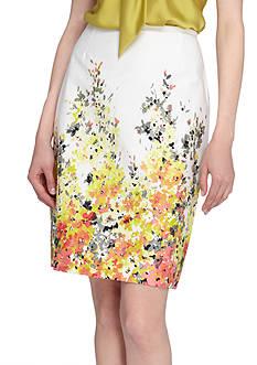 Tahari ASL Floral Print Skirt
