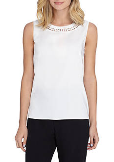 Tahari ASL Solid Sleeveless Blouse