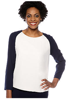 Nine West Suit Colorblock Blouse with Back Zipper