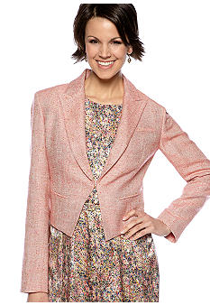 Nine West Suit Tweed Cropped Tuxedo Jacket
