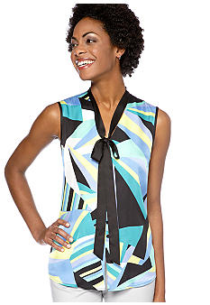 Nine West Suit Knot Front Geometric Print Blouse